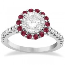 Round Halo Diamond & Ruby Engagement Ring 14K White Gold (0.74ct)