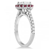 Round Halo Diamond & Ruby Engagement Ring 14K White Gold (0.74ct)