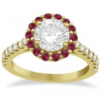 Round Halo Diamond & Ruby Engagement Ring 18K Yellow Gold (0.74ct)