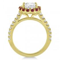 Round Halo Diamond & Ruby Engagement Ring 18K Yellow Gold (0.74ct)
