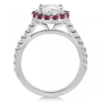 Round Halo Diamond & Ruby Engagement Ring Setting Platinum (0.74ct)