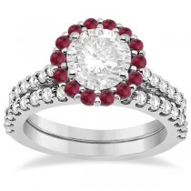 Halo Diamond & Ruby Bridal Engagement Ring Set 18K White Gold (1.12ct)