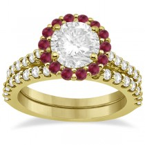 Halo Diamond & Ruby Bridal Engagement Ring Set 18K Yellow Gold (1.12ct)