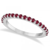 Ruby Stone Wedding Band Pave Set on 14K White Gold Setting (0.38ct)