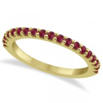 Ruby Stone Wedding Band Pave Set on 14K Yellow Gold Setting (0.38ct)