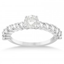 Diamond Accented Engagement Ring Setting 14k White Gold 0.84ct