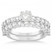 Diamond Accented Bridal Set Setting 18k White Gold 1.75ct