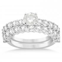 Diamond Accented Bridal Set Palladium 1.75ct