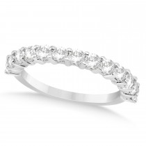 Diamond Accented Wedding Band Setting 14k White Gold 0.91ct