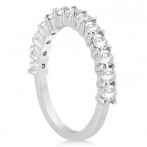 Diamond Accented Wedding Band Setting 14k White Gold 0.91ct