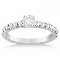 Diamond Accented Engagement Ring Setting 18k White Gold 0.42ct