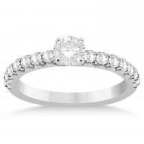 Diamond Accented Engagement Ring Setting Palladium 0.42ct