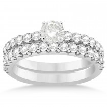 Diamond Accented Bridal Set Setting 14k White Gold (0.90ct)