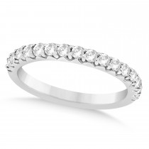 Diamond Accented Wedding Band 18k White Gold 0.48ct