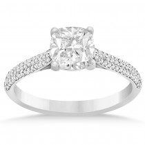 Diamond Three Row Cushion Cut Engagement Ring 14k White Gold (0.16ct)