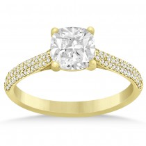 Diamond Three Row Cushion Cut Engagement Ring 14k Yellow Gold (0.16ct)