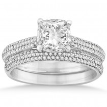 Diamond Three Row Cushion Cut Bridal Set 14k White Gold (0.36ct)