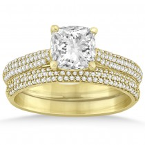 Diamond Three Row Cushion Cut Bridal Set 14k Yellow Gold (0.36ct)