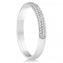 Diamond Semi Eternity Three Row Wedding Band 14k White Gold (0.20ct)