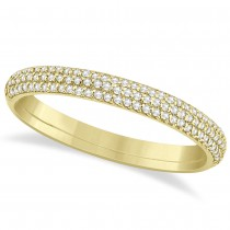 Diamond Semi Eternity Three Row Wedding Band 14k Yellow Gold (0.20ct)