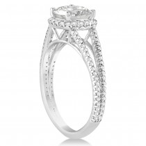 Diamond Split Shank Cushion Cut Engagement Ring 14k White Gold 1.34ct|escape