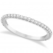 Diamond Contoured Wedding Band 14k White Gold (0.29ct)