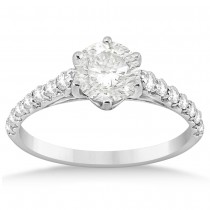 Graduated Diamond Six Prong Engagement Ring 14k White Gold (0.30ct)