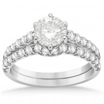Graduated Diamond Six Prong Bridal Set Setting 14k White Gold (0.60ct)