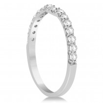 Diamond Semi Eternity Contoured Wedding Band 14k White Gold (0.30ct)