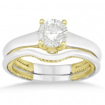 Diamond Antique Style Bridal Set Setting 14k Two Tone Gold (0.04ct)