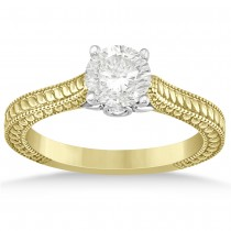 Diamond Antique Style Filigree Engagement Ring 14k Two Tone Gold .06ct
