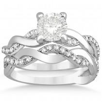 Diamond Twisted Infinity Bridal Set Setting 14k White Gold (0.58ct)