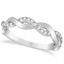 Diamond Twisted Infinity Wedding Ring Band 14k White Gold (0.26ct)