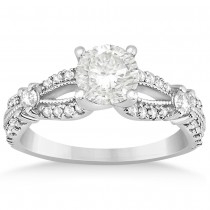 Diamond Split Shank Milgrain Engagement Ring 14k White Gold (0.47ct)