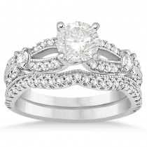Diamond Split Shank Bridal Ring Set Milgrain 14k White Gold (0.69ct)