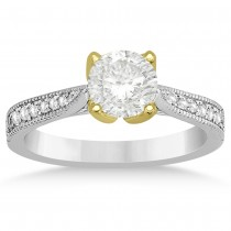 Milgrain Pave Diamond Engagement Ring 14k Two Tone Gold (0.15ct)
