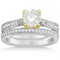 Diamond Milgrain Engagement Ring Bridal Set 14k Two Tone Gold (0.33ct)