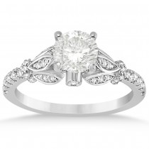 Diamond Floral Engagement Ring Bridal Set 14k White Gold (0.49ct)