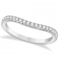 Diamond Accented Contoured Wedding Band 14k White Gold (0.21ct)