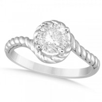 Diamond Twisted Solitaire Engagement Ring 14k White Gold (1.00ct)