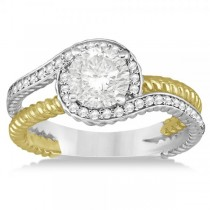 Diamond Twisted Rope Halo Engagement Ring 14k Mixed Metal Gold 0.20ct