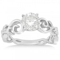 Diamond Flower Swirl Solitaire Engagement Ring Setting 14k White Gold