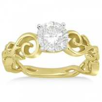 Diamond Flower Swirl Engagement Ring Setting 14k Yellow Gold