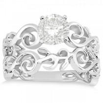 Diamond Flower Swirl Solitaire Bridal Ring Set  14k White Gold