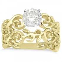 Diamond Flower Swirl Bridal Set Setting 14k Yellow Gold