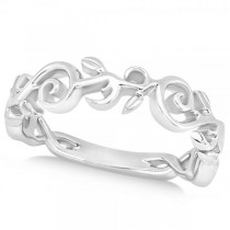 Flower Swirl Wedding Ring Band 14k White Gold