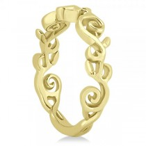 Flower Swirl Wedding Ring Band 14k Yellow Gold