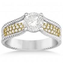 Diamond Split Shank Rope Engagement Ring 14k Two Tone Gold (0.37ct)