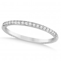 Diamond Accented Wedding Band 14k White Gold (0.13ct)