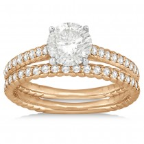 Diamond Rope Engagement Ring Bridal Set 14k Two Tone Gold (0.41ct)